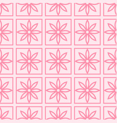 seamless pattern with abstract pink flowers on a vector image vector image