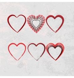 set of scribble hearts vector image vector image