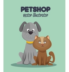 veterinary pet shop cat and dog graphic vector image