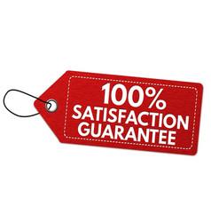100 satisfaction guarantee label or price tag vector
