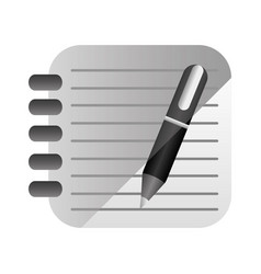 3d rings notebook with black pen vector