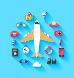 Airplane travel concept background poster vector image