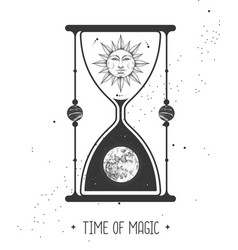 Astrology hourglass with sun and moon inside vector