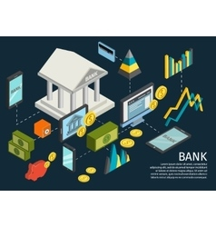 Atm Hands Isometric Poster vector image vector image