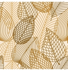 Autumn brown and yellow leaves seamless pattern vector image