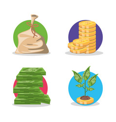 bag money with money and plant vector image