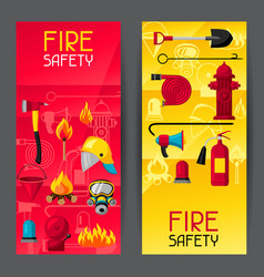 Banners with firefighting items fire protection vector