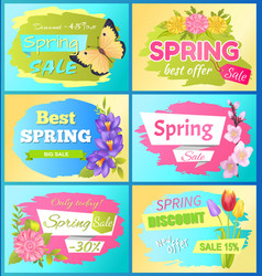 Best offer spring sale advert labels flowers set vector