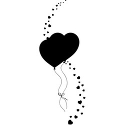 black silhouette of couple heart shaped helium vector image