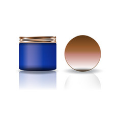 blank blue cosmetic round jar with copper lid in vector image