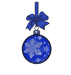 Blue Christmas balls with ribbon and bows vector image