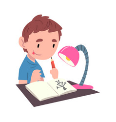 boy sitting at table and drawing picture cute vector image