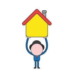 businessman character holding up house color and vector image