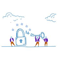 Businessmen holding key unlock padlock access vector