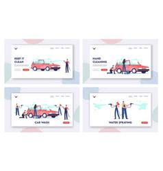 car wash service landing page template set worker vector image