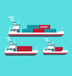cargo ships isolated flat vector image