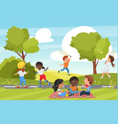 Cartoon children play in summer park or garden vector