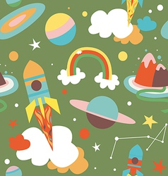 Cartoon cosmos seamless pattern vector image