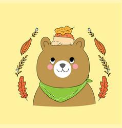 cartoon cute autumn bear and hedgehog vector image