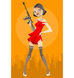 cartoon girl with a weapon vector image