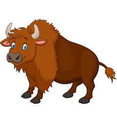 Cartoon happy bison vector