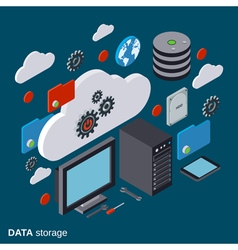 Cloud computing data storage computer equipment vector image