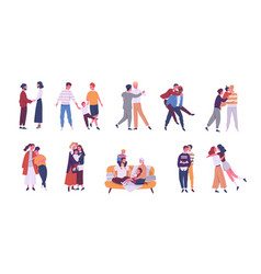 Collection of lgbt or queer couples and families vector