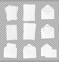 collection of various realistic white papers vector image