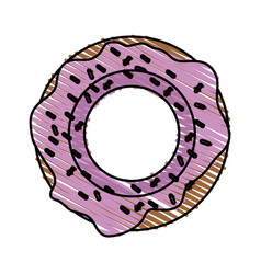 Color crayon stripe cartoon donut with medium pink vector
