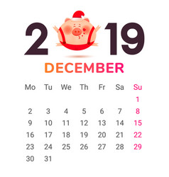 Colored numbers 2019 with a fat pig and gift vector