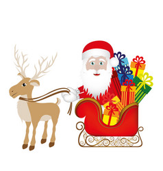 Colorful silhouette of reindeer with santa claus vector