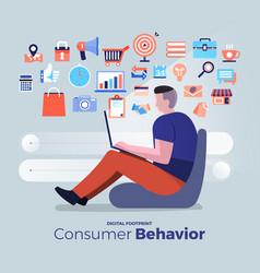 Consumer digital footprint vector