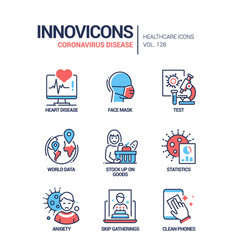 Coronavirus disease - line design style icons set vector
