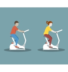 Couple on Exercise Bike vector image