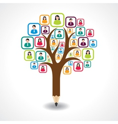 creative social people tree design concept vector image