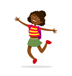 Cute afro american girl with a backpack jumping vector