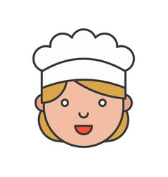 cute chef head filled outline icon editable stroke vector image