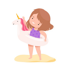 cute girl with inflatable unicorn swim ring kids vector image