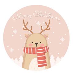 cute reindeer for christmas card vector image