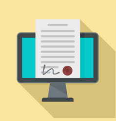 Digital contract icon flat style vector
