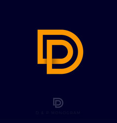 dp monogram line yellow monogram vector image