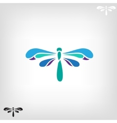 Dragonfly silhouette on light background vector image