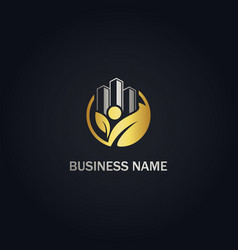 eco leaf building company gold logo vector image