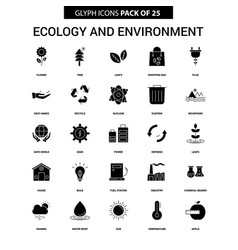 Ecology and enviroment glyph icon set vector