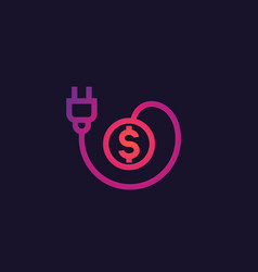 Electricity costs icon with electric plug vector