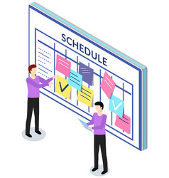Employees planning schedule for week timetable vector