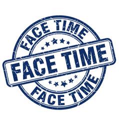 face time blue grunge stamp vector image