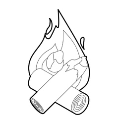 Fire icon outline style vector image