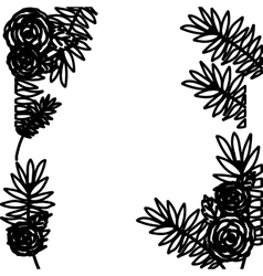 Flowers and leaves frame silhouette design vector