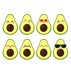 Funny cartoon avocado character emoji vector